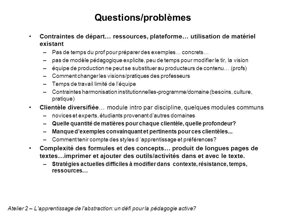 Questions/problèmes Contraintes de départ… ressources, plateforme… utilisation de matériel existant –Pas de temps du prof pour préparer des exemples…
