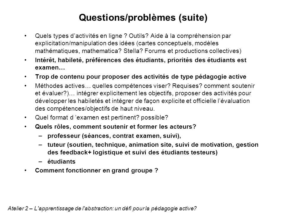 Questions/problèmes (suite) Quels types dactivités en ligne ? Outils? Aide à la compréhension par explicitation/manipulation des idées (cartes concept