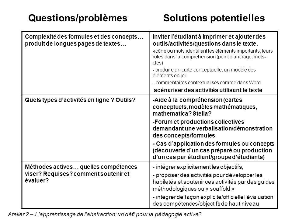 Complexité des formules et des concepts… produit de longues pages de textes… Inviter létudiant à imprimer et ajouter des outils/activités/questions da