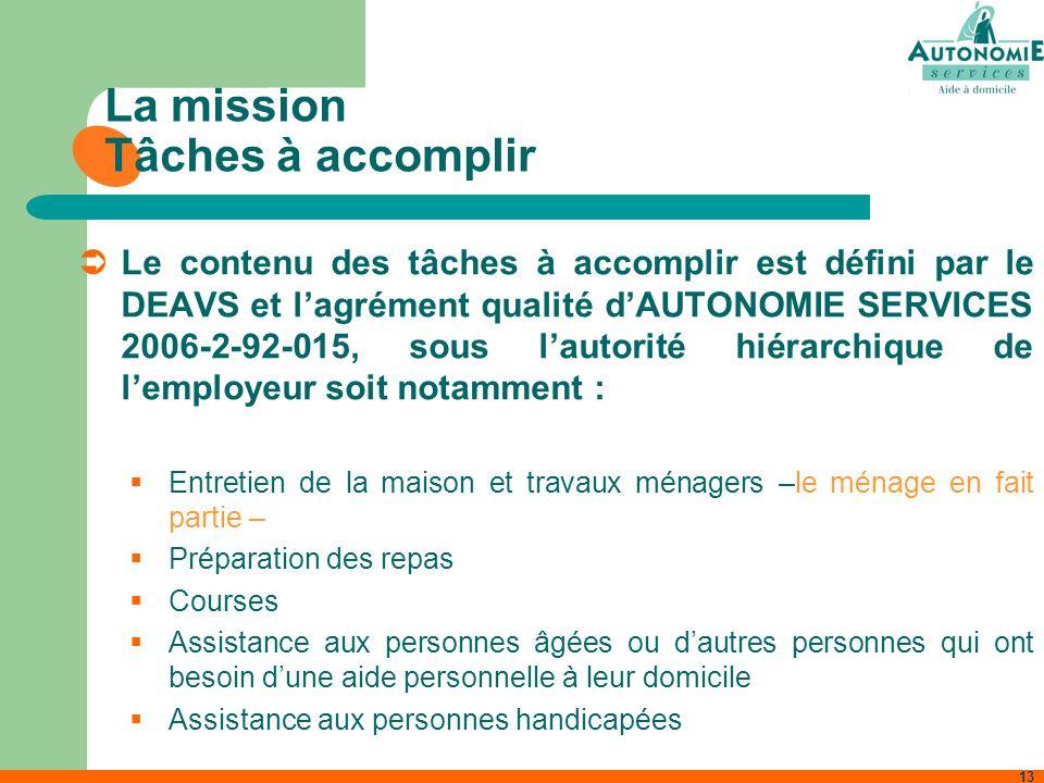 13 La mission Tâches à accomplir Le contenu des tâches à accomplir est défini par le DEAVS et lagrément qualité dAUTONOMIE SERVICES 2006-2-92-015, sou