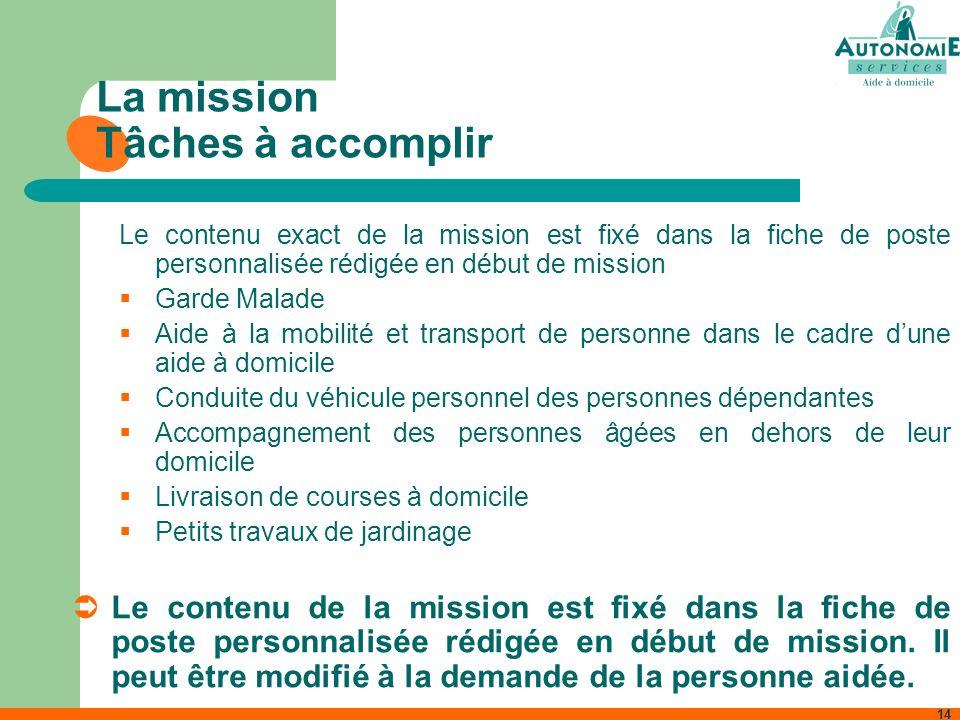 14 La mission Tâches à accomplir Le contenu exact de la mission est fixé dans la fiche de poste personnalisée rédigée en début de mission Garde Malade