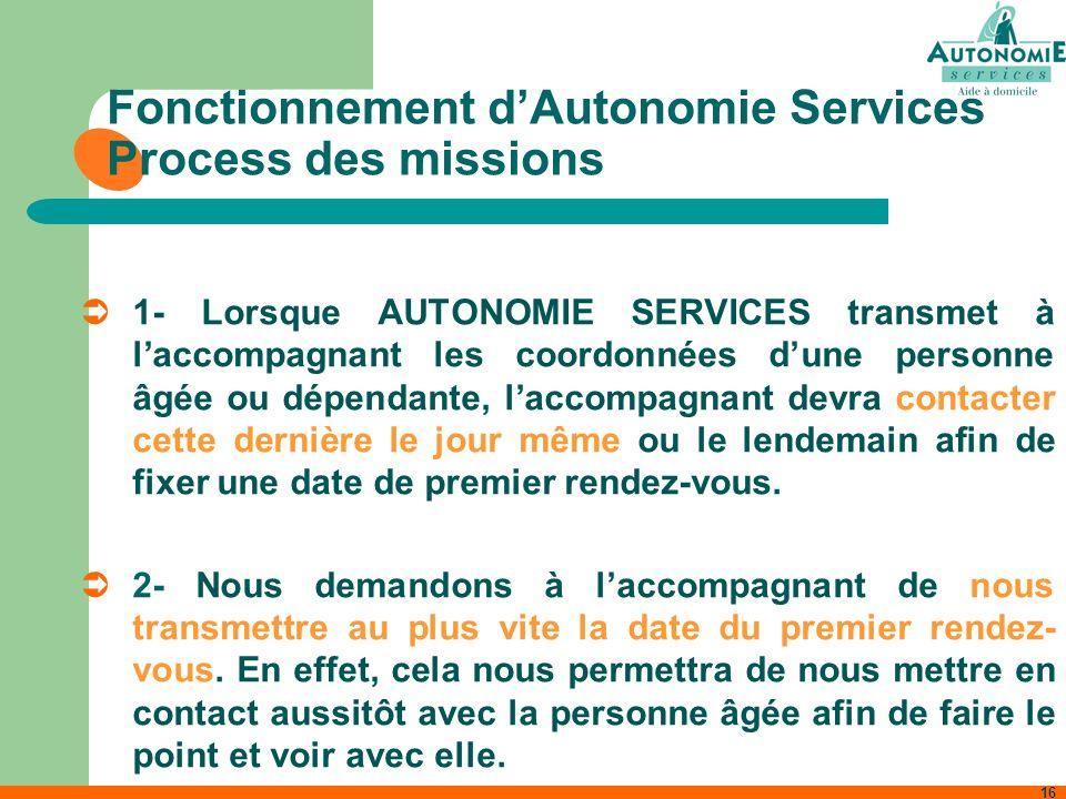 16 Fonctionnement dAutonomie Services Process des missions 1- Lorsque AUTONOMIE SERVICES transmet à laccompagnant les coordonnées dune personne âgée o