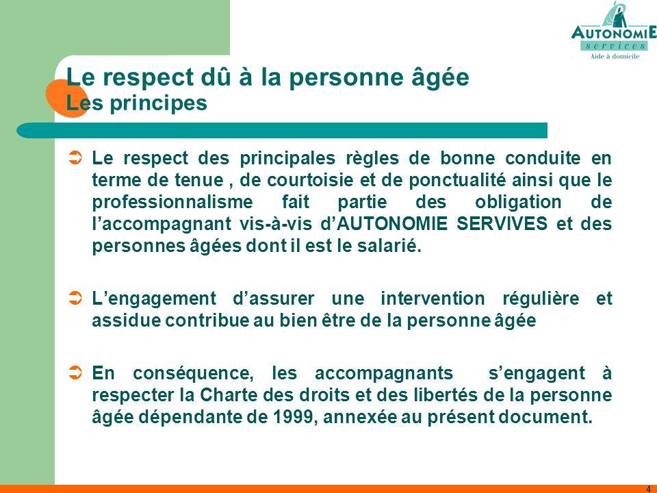 4 Le respect dû à la personne âgée Les principes Le respect des principales règles de bonne conduite en terme de tenue, de courtoisie et de ponctualit