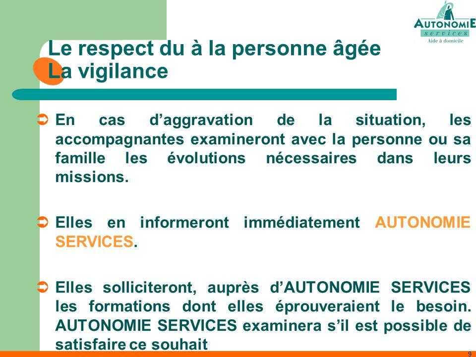 9 Le respect du à la personne âgée La vigilance En cas daggravation de la situation, les accompagnantes examineront avec la personne ou sa famille les