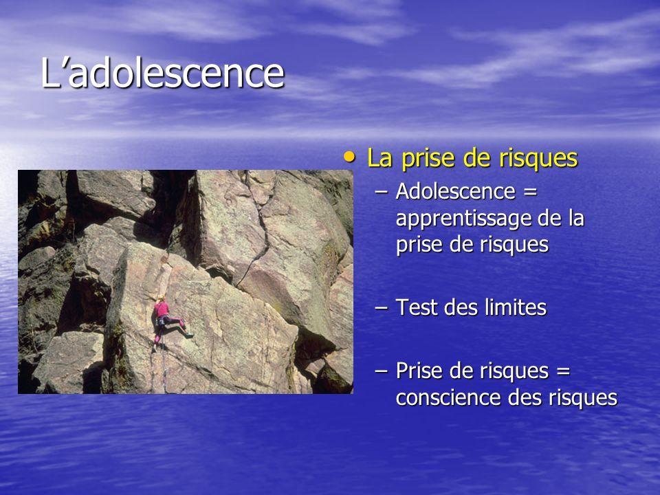 Ladolescence La prise de risques La prise de risques –Adolescence = apprentissage de la prise de risques –Test des limites –Prise de risques = conscience des risques