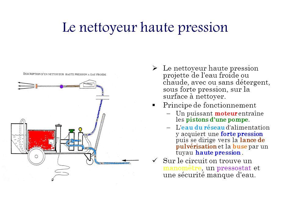 Le nettoyeur haute pression Le nettoyeur haute pression projette de l eau froide ou chaude, avec ou sans détergent, sous forte pression, sur la surface à nettoyer.