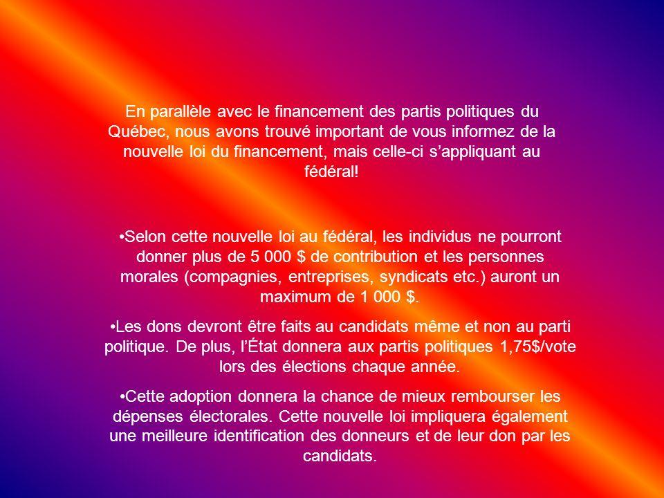 En parallèle avec le financement des partis politiques du Québec, nous avons trouvé important de vous informez de la nouvelle loi du financement, mais