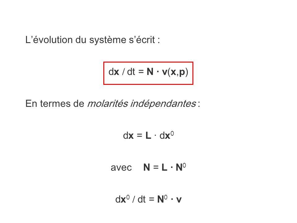 Lévolution du système sécrit : dx / dt = N · v(x,p) En termes de molarités indépendantes : dx = L · dx 0 avec N = L · N 0 dx 0 / dt = N 0 · v