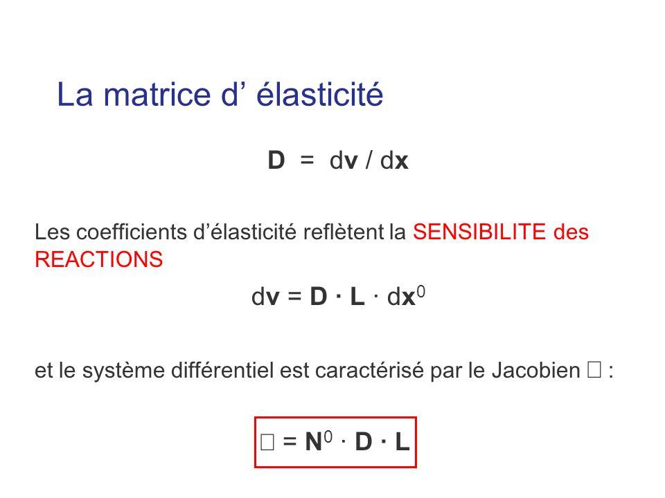 La matrice d élasticité D = dv / dx Les coefficients délasticité reflètent la SENSIBILITE des REACTIONS dv = D · L · dx 0 et le système différentiel est caractérisé par le Jacobien : = N 0 · D · L