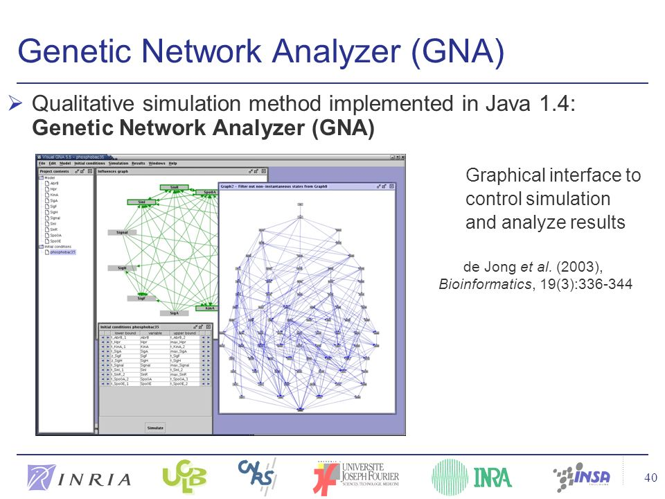 40 Genetic Network Analyzer (GNA) Qualitative simulation method implemented in Java 1.4: Genetic Network Analyzer (GNA) Graphical interface to control