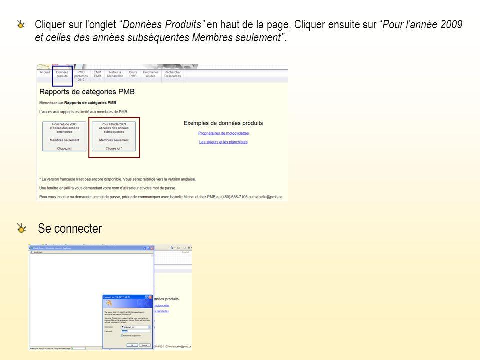 Cliquer sur longlet Données Produits en haut de la page.