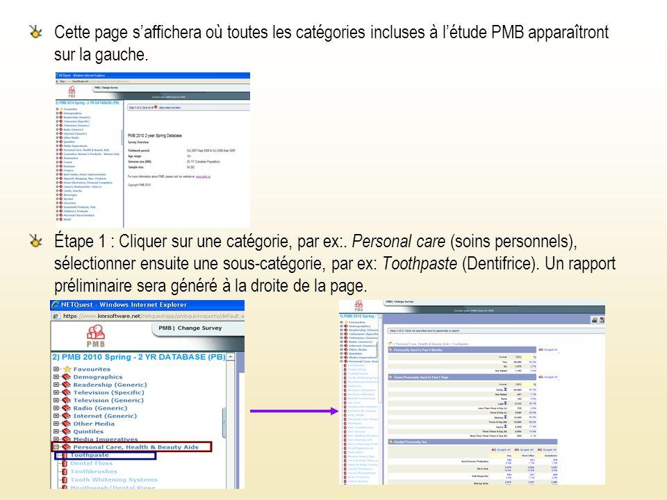 Cette page saffichera où toutes les catégories incluses à létude PMB apparaîtront sur la gauche.