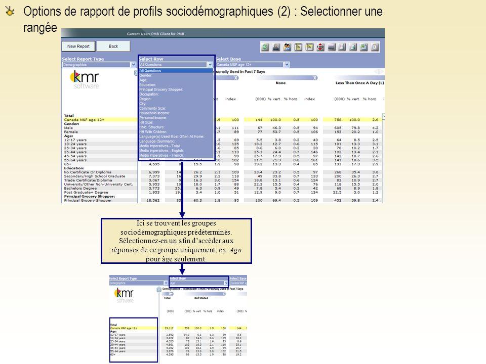 Options de rapport de profils sociodémographiques (2) : Selectionner une rangée Ici se trouvent les groupes sociodémographiques prédéterminés.