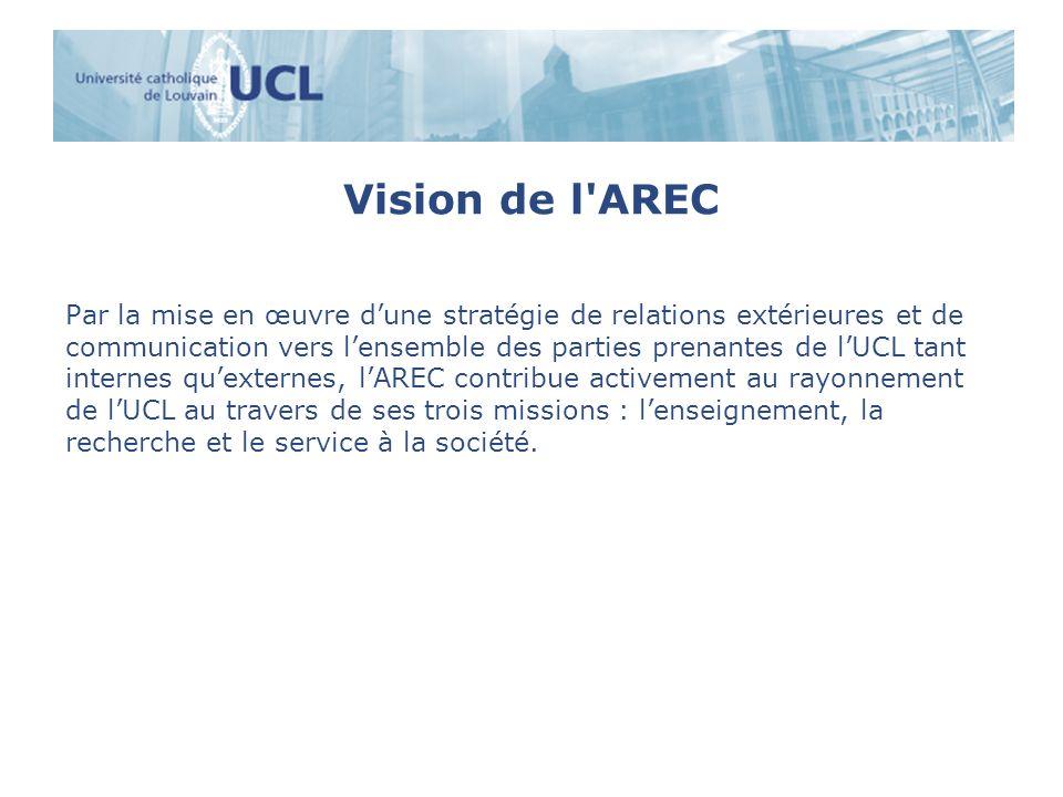 Vision de l AREC Par la mise en œuvre dune stratégie de relations extérieures et de communication vers lensemble des parties prenantes de lUCL tant internes quexternes, lAREC contribue activement au rayonnement de lUCL au travers de ses trois missions : lenseignement, la recherche et le service à la société.