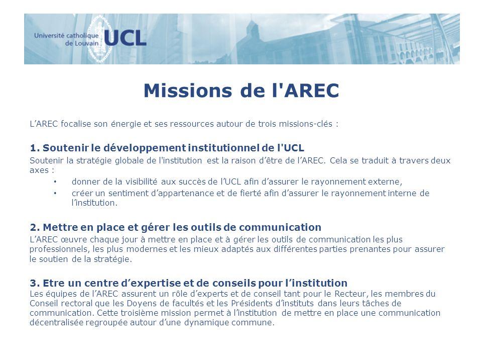 Missions de l'AREC LAREC focalise son énergie et ses ressources autour de trois missions-clés : 1. Soutenir le développement institutionnel de l'UCL S