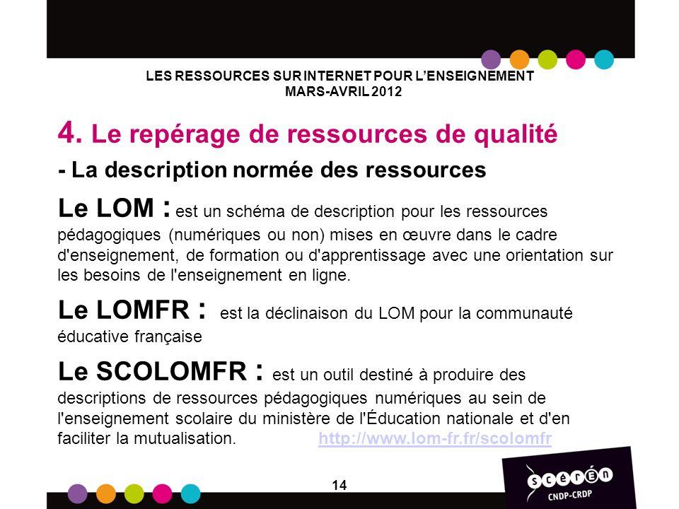 LES RESSOURCES SUR INTERNET POUR LENSEIGNEMENT MARS-AVRIL 2012 4. Le repérage de ressources de qualité - La description normée des ressources Le LOM :