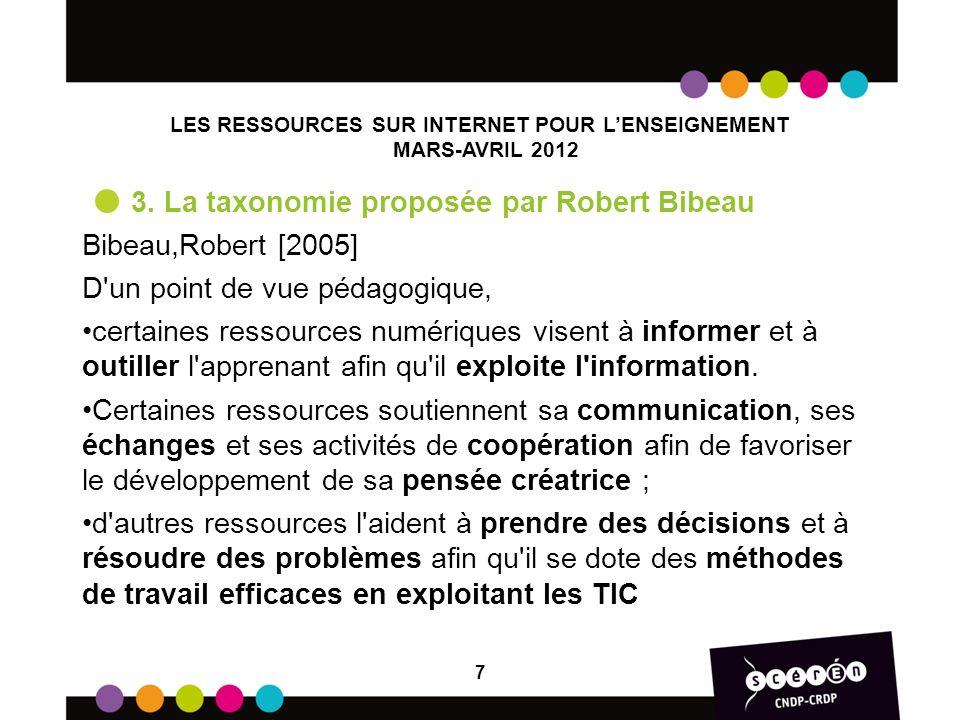 LES RESSOURCES SUR INTERNET POUR LENSEIGNEMENT MARS-AVRIL 2012 3. La taxonomie proposée par Robert Bibeau Bibeau,Robert [2005] D'un point de vue pédag