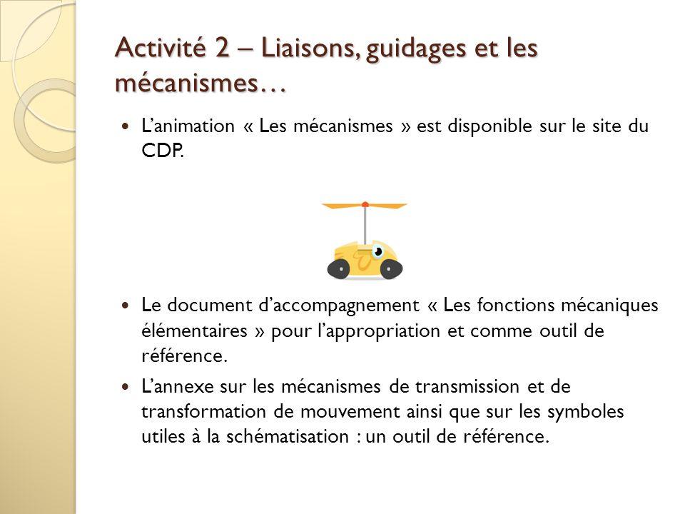 Activité 2 – Liaisons, guidages et les mécanismes… Lanimation « Les mécanismes » est disponible sur le site du CDP. Le document daccompagnement « Les