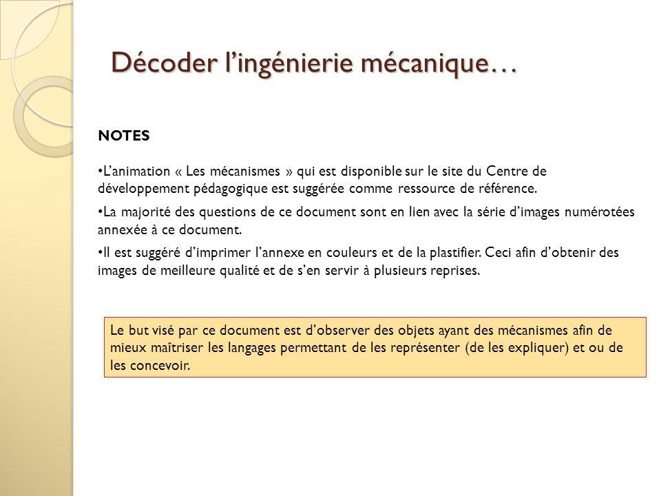 Décoder lingénierie mécanique… NOTES Lanimation « Les mécanismes » qui est disponible sur le site du Centre de développement pédagogique est suggérée