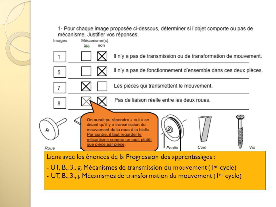 Liens avec les énoncés de la Progression des apprentissages : - UT, B., 3., g. Mécanismes de transmission du mouvement (1 er cycle) - UT, B., 3., j. M
