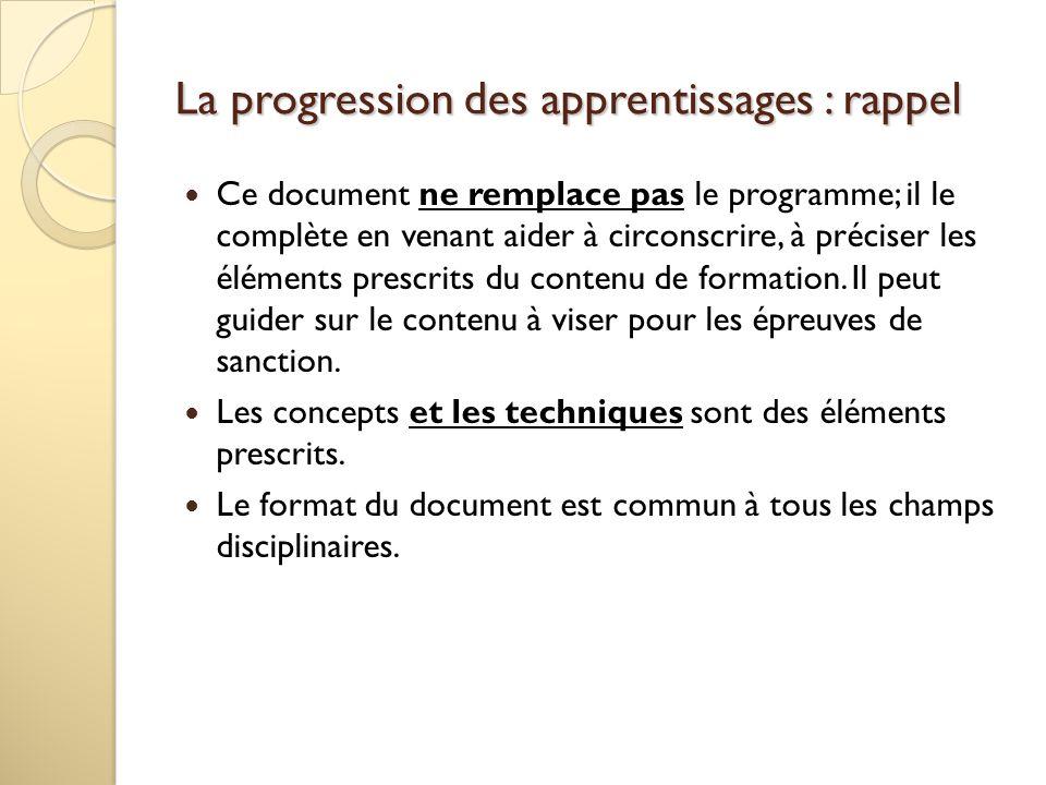 La progression des apprentissages : rappel Ce document ne remplace pas le programme; il le complète en venant aider à circonscrire, à préciser les élé