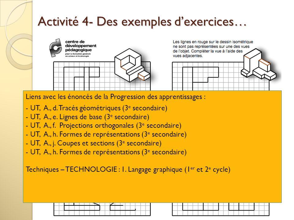 Activité 4- Des exemples dexercices… Liens avec les énoncés de la Progression des apprentissages : - UT, A., d. Tracés géométriques (3 e secondaire) -