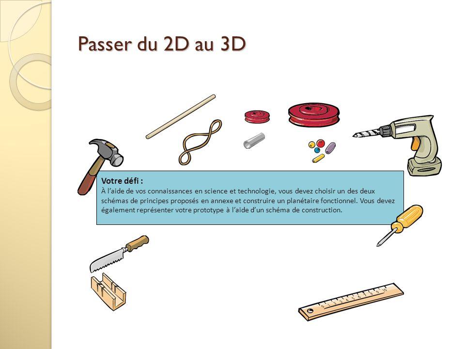 Passer du 2D au 3D Votre défi : À laide de vos connaissances en science et technologie, vous devez choisir un des deux schémas de principes proposés e