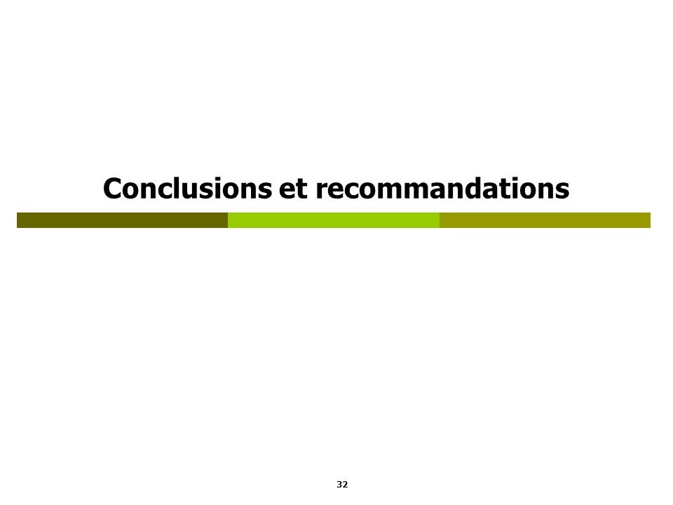 Conclusions et recommandations 32