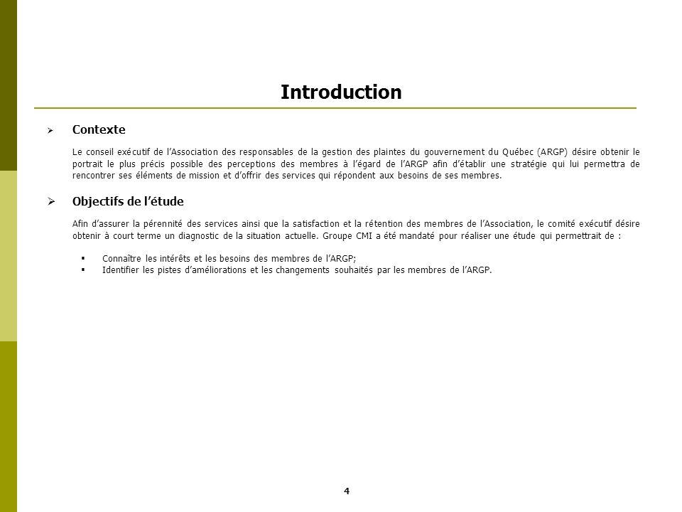 Introduction Contexte Le conseil exécutif de lAssociation des responsables de la gestion des plaintes du gouvernement du Québec (ARGP) désire obtenir