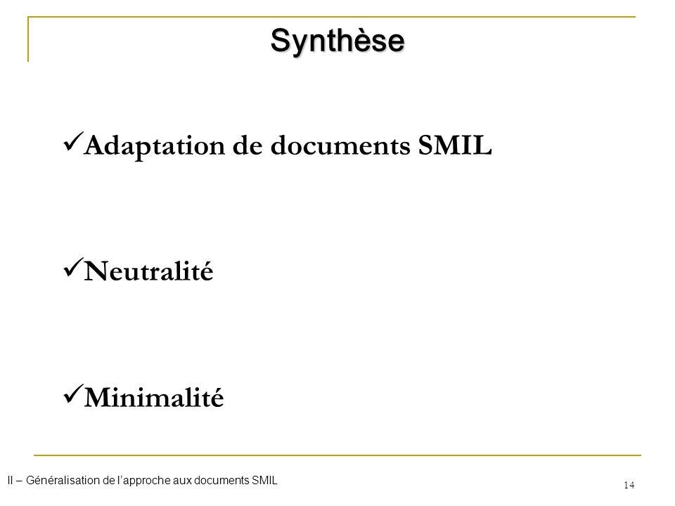 14 Adaptation de documents SMIL Neutralité Minimalité Synthèse II – Généralisation de lapproche aux documents SMIL