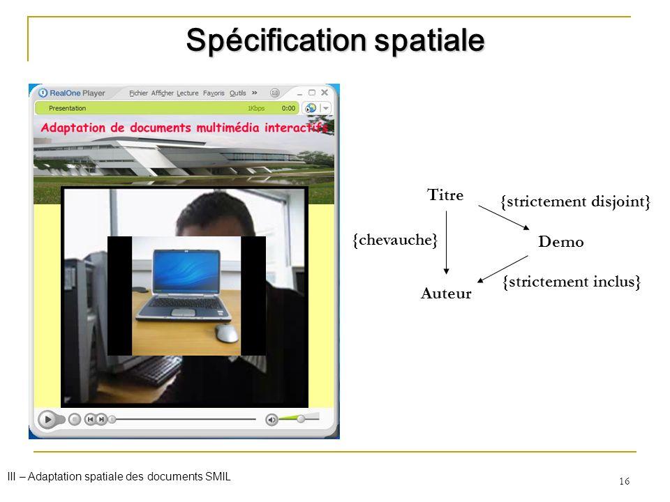 16 Titre Auteur Demo {strictement disjoint} {strictement inclus} {chevauche} Spécification spatiale III – Adaptation spatiale des documents SMIL