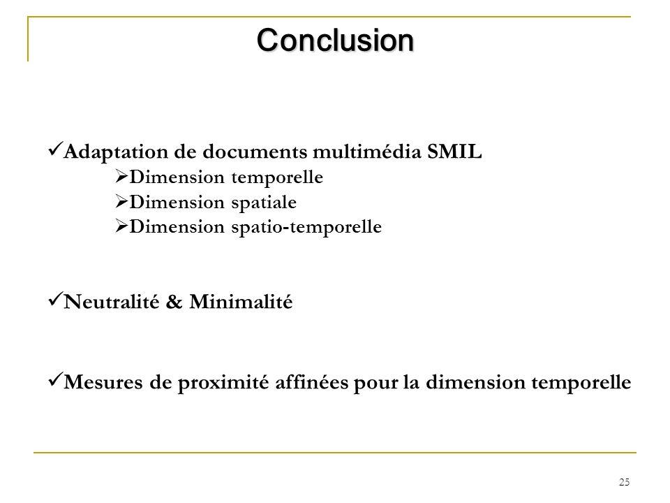 25 Adaptation de documents multimédia SMIL Dimension temporelle Dimension spatiale Dimension spatio-temporelle Neutralité & Minimalité Mesures de prox