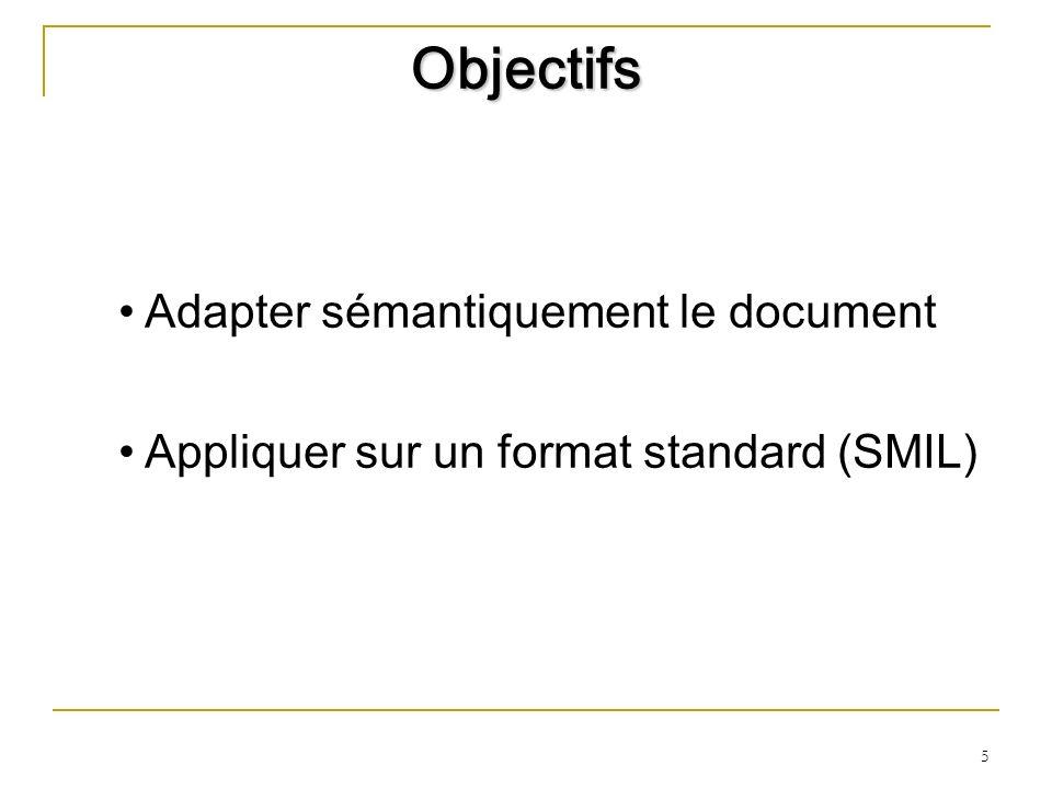 5 Objectifs Adapter sémantiquement le document Appliquer sur un format standard (SMIL)