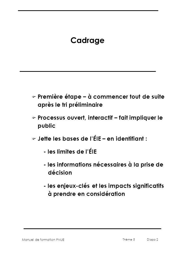 Manuel de formation PNUE Thème 5 Diapo 2 Cadrage F Première étape – à commencer tout de suite après le tri préliminaire F Processus ouvert, interactif