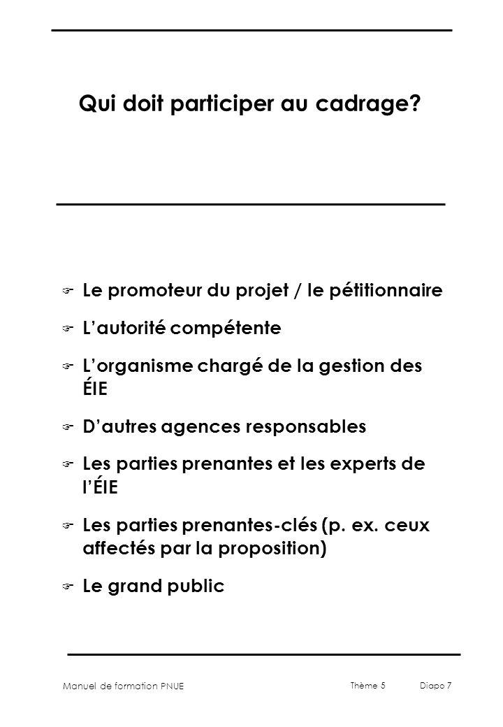 Manuel de formation PNUE Thème 5 Diapo 7 Qui doit participer au cadrage? F Le promoteur du projet / le pétitionnaire F Lautorité compétente F Lorganis