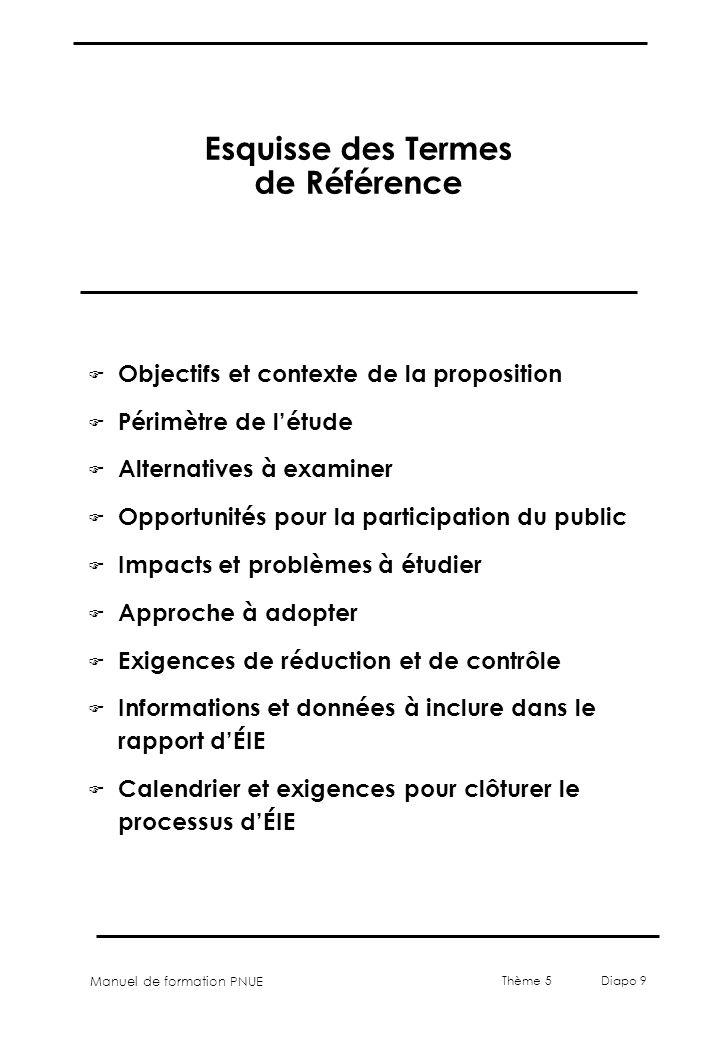 Manuel de formation PNUE Thème 5 Diapo 9 Esquisse des Termes de Référence F Objectifs et contexte de la proposition F Périmètre de létude F Alternativ