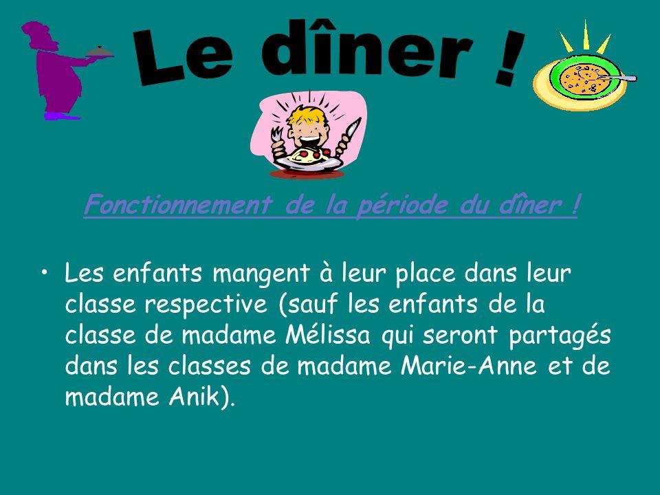 Fonctionnement de la période du dîner ! Les enfants mangent à leur place dans leur classe respective (sauf les enfants de la classe de madame Mélissa