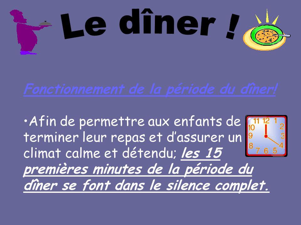 Fonctionnement de la période du dîner! Afin de permettre aux enfants de terminer leur repas et dassurer un climat calme et détendu; les 15 premières m