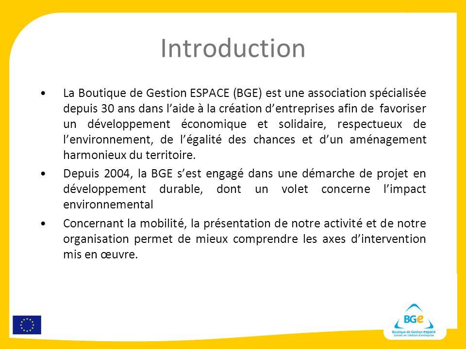 Introduction La Boutique de Gestion ESPACE (BGE) est une association spécialisée depuis 30 ans dans laide à la création dentreprises afin de favoriser