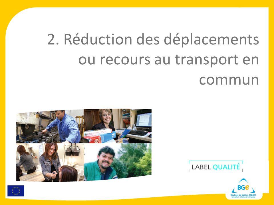 2. Réduction des déplacements ou recours au transport en commun
