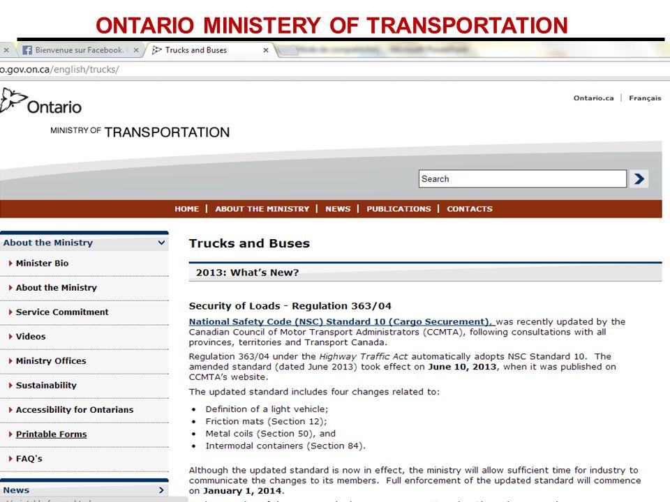 ONTARIO MINISTERY OF TRANSPORTATION
