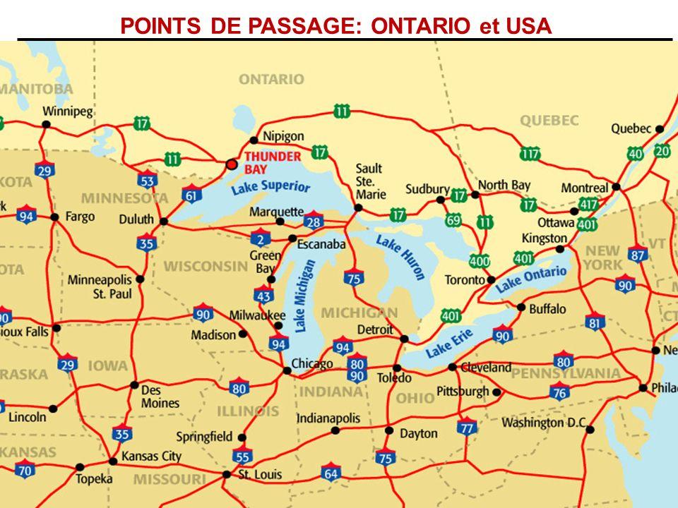 POINTS DE PASSAGE: ONTARIO et USA