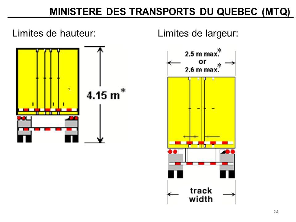 MINISTERE DES TRANSPORTS DU QUEBEC (MTQ) Limites de hauteur:Limites de largeur: *L 24