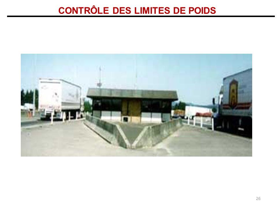 CONTRÔLE DES LIMITES DE POIDS 26