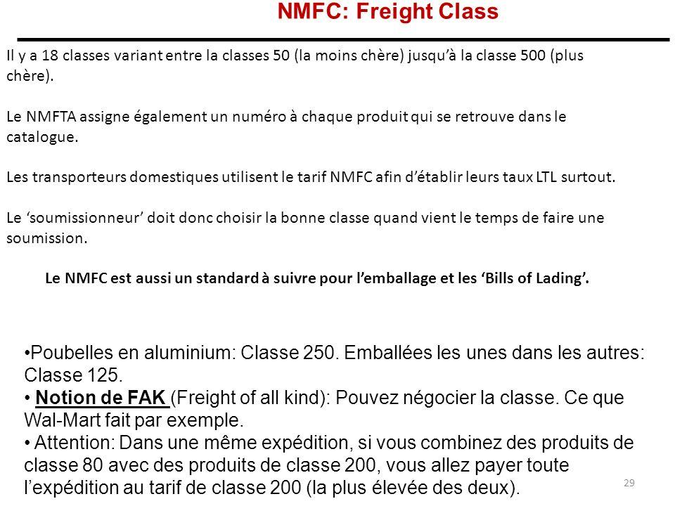 NMFC: Freight Class Il y a 18 classes variant entre la classes 50 (la moins chère) jusquà la classe 500 (plus chère).