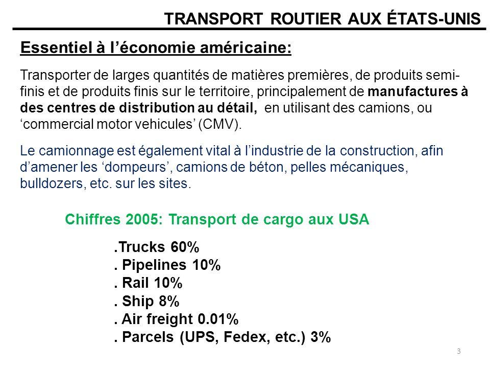 ROAD FREIGHT TRANSPORT IN THE USA Essentiel à léconomie des USA:.