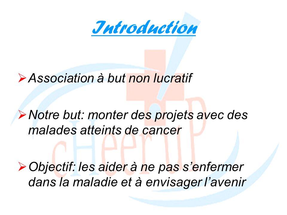 Introduction Association à but non lucratif Notre but: monter des projets avec des malades atteints de cancer Objectif: les aider à ne pas senfermer d