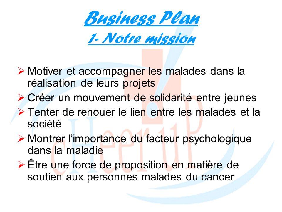 Business Plan 1- Notre mission Motiver et accompagner les malades dans la réalisation de leurs projets Créer un mouvement de solidarité entre jeunes T