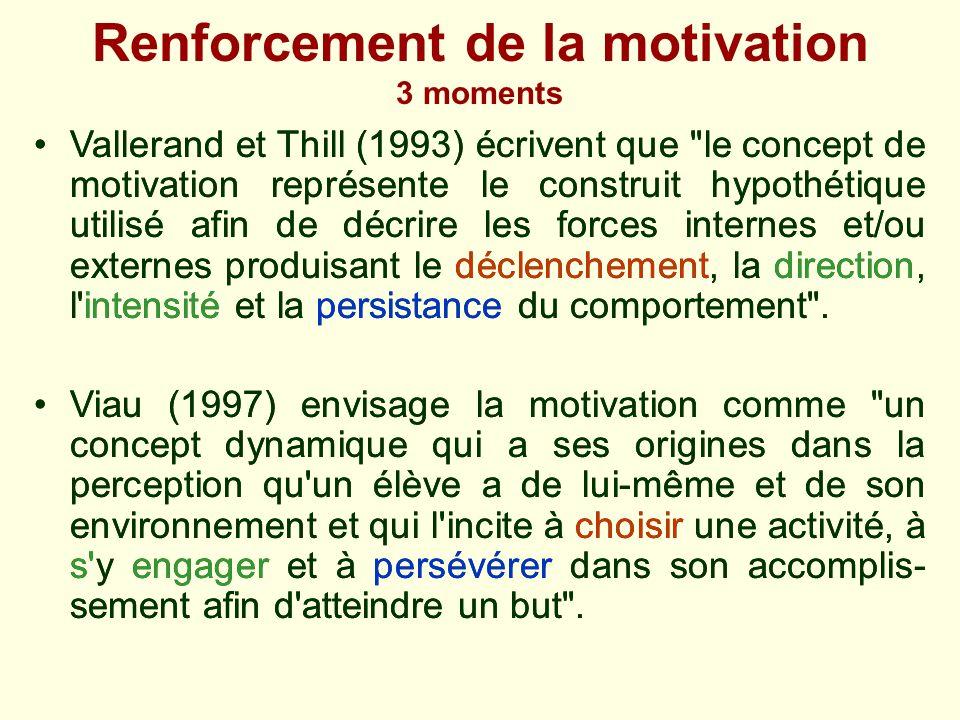 Renforcement de la motivation 3 moments Vallerand et Thill (1993) écrivent que