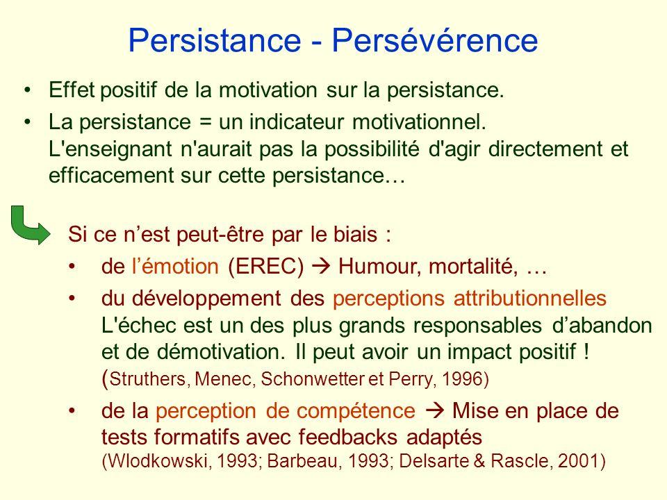Persistance - Persévérence Effet positif de la motivation sur la persistance. La persistance = un indicateur motivationnel. L'enseignant n'aurait pas